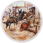 Russell Cowboy Art, 1909 Round Beach Towel
