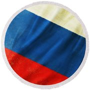 Russia Flag Round Beach Towel