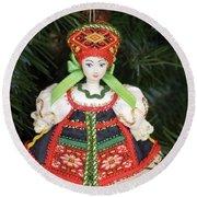 Russian Folk Ornament Round Beach Towel