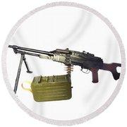 Russian Pkm General-purpose Machine Gun Round Beach Towel