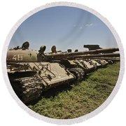 Russian T-62 Main Battle Tanks Rest Round Beach Towel