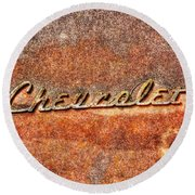 Rusted Antique Chevrolet Logo Round Beach Towel
