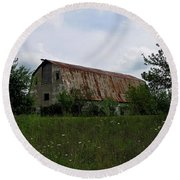 Rusted Barn Roof Round Beach Towel