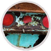 Rusted Blue Taillight Round Beach Towel