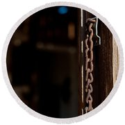 Rusted Chain Lock - Color Round Beach Towel