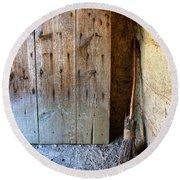 Rustic Door And Broom Round Beach Towel
