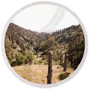 Rustic Fence Round Beach Towel