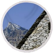 Rustic House And Mountain Round Beach Towel