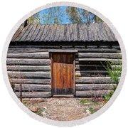 Rustic Pioneer Log Cabin - Salt Lake City Round Beach Towel