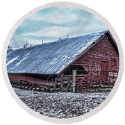 Rustic Red Winter Barn Round Beach Towel