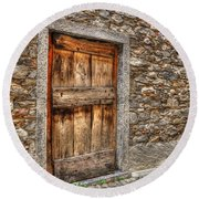 Rustic Stone House With Old Round Beach Towel