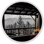Rustic View Of The Great Outdoors Round Beach Towel