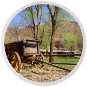 Rustic Wagon At Historic Lonely Dell Ranch - Arizona Round Beach Towel