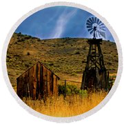 Rustic Windmill Round Beach Towel
