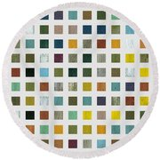Rustic Wooden Abstract V Round Beach Towel