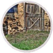 Rustic Wooden Door In Stone Barn Round Beach Towel