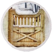 Rustic Wooden Gate In Snow Round Beach Towel