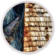 Rusting Boat Anchor Round Beach Towel
