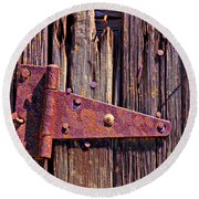 Rusty Barn Door Hinge  Round Beach Towel