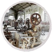 Rusty Machinery Round Beach Towel by Carlos Caetano
