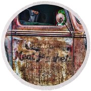 Rusty Truck Door Round Beach Towel