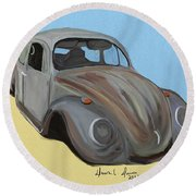 Rusty V.w. Bug Round Beach Towel