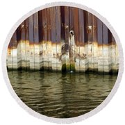 Rusty Wall By The River Round Beach Towel