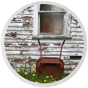 Rusty Wheelbarrow And Wildflowers Round Beach Towel