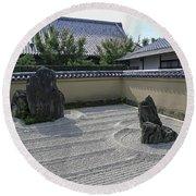 Ryogen-in Raked Gravel Garden - Kyoto Japan Round Beach Towel
