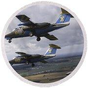 Saab 105 Jet Trainers Of The Swedish Round Beach Towel