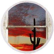 Saguaro Sunset Picture Window View Round Beach Towel