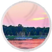 Sail Boats Pretty In Pink  Round Beach Towel