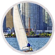 Sailboat In Toronto Harbor Round Beach Towel