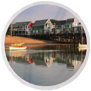 Sailboats And Harbor Waterfront Reflections Round Beach Towel