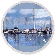 Sailboats And Seagulls Round Beach Towel