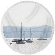 Sailboats And The Tappan Zee Bridge Round Beach Towel