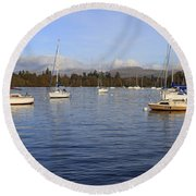 Sailboats At Anchor In Bowness On Windermere Round Beach Towel