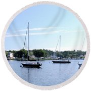 Sailboats In Bay Round Beach Towel