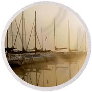 Sailboats In Golden Fog Round Beach Towel