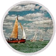 Sailboats In The Netherlands By The Zuiderzee Round Beach Towel