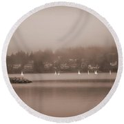 Sailboats In Victoria, British Columbia Round Beach Towel