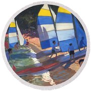 Sailboats South Of France Round Beach Towel