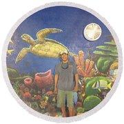 Sailfish Splash Park Mural 7 Round Beach Towel