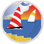 Sailing Before The Wind Round Beach Towel