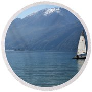 Sailing Boat And Mountain Round Beach Towel