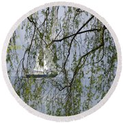 Sailing Boat Behind Tree Branches Round Beach Towel