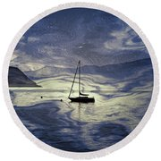 Sailing Boat Round Beach Towel by Joana Kruse