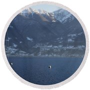 Sailing Boat On A Lake Round Beach Towel