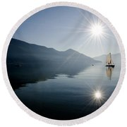Sailing Boat On The Lake Round Beach Towel