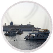 Sailing Boats And A Large Yacht In The Harbour At Sharm El Sheikh Round Beach Towel